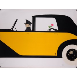 Original Art Deco Style  lithograph Featuring a Driver in a Car