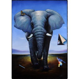 "Oil on canvas painting ""Elephant"" by Ferjo."