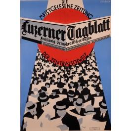 Original Vintage Swiss Poster for Swiss Zeitung Newspape