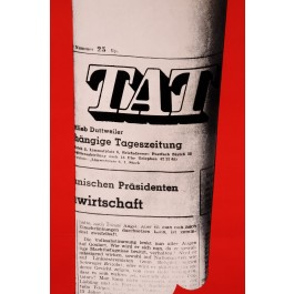 """Original Vintage Swiss Poster for DIE TAT (""""The Fact"""" Independent Swiss Newspaper)"""