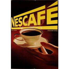 """Original Vintage French Poster for """"NESCAFE""""  On paper. Needs linen backing."""