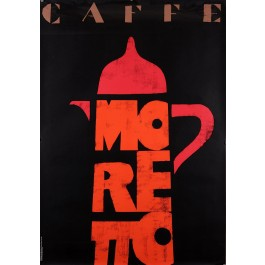 Original Vintage Coffee Poster Advertising Caffe Moreto