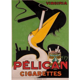 Original Vintage French Advertising Poster for Pelican Cigarette