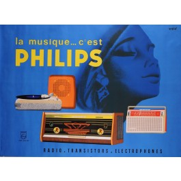"""Original Vintage French Advertising Poster for """"Philips"""" Products"""