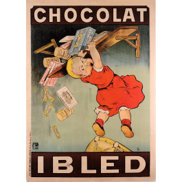 """Original Vintage French Children Chocolate Poster for """"Chocolat Ibled""""  by Oge"""