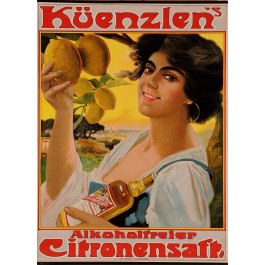 "Original Vintage German Advertising Poster for ""Küenzlen's Citronsaft"""