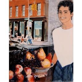"Arie Azene, ""West Broadway"", Acrylic on canvas, 95x75 cm. Signed."
