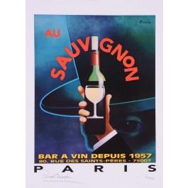 "Limited Ed. Hand Signed Print ""Au Sauvignon"" by Razzia 151/995"