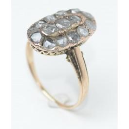 14 Carat Antique Gold ring, Set With 15 Rose Cut Diamonds Totaling more Than 1 Carat