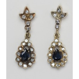 A Pair of 14 Carat Gold Earrings Set With 2 Sapphires plus 34 diamonds 3-4 pt. each