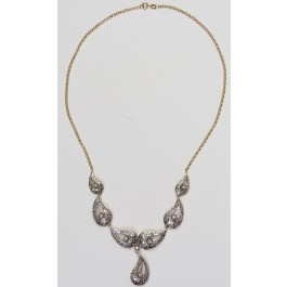 18 Carat Vintage Gold Necklace Set with Hundreds of Diamonds (about 3 carats) and Eight diamonds of about 8 pt. Each.