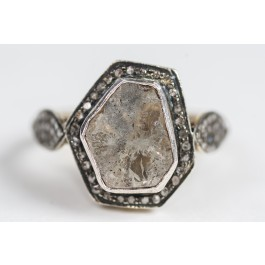 14 Carat Antique Gold ring, Set With Many Rose Cut Diamonds and One Sliced Diamond Face size 3-31/2 Carat