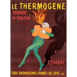 "Original Vintage French Large Poster for ""Thermogène"" Patches by Cappiello 1907"