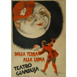 Vintage Antique Old Italian Theatre Poster