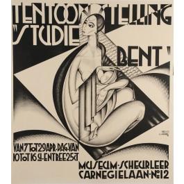 "Original Art Decor Dutch Poster Tentoonstelling ""Studie Bent"" 1928 , Rare"
