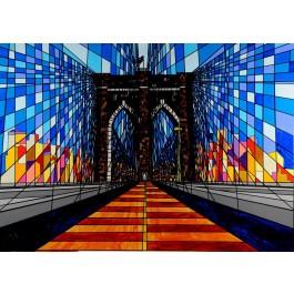 """Original Acrylic on Canvas by KIP """"Brooklyn Bridge"""" (UNSTRETCHED)"""