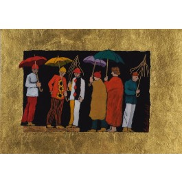 """Original Signed Gouache on Board Painting """"Standing in the Rain"""" by Lea Levin 1990's"""
