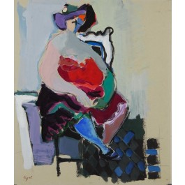 """Original Painting Acrylic on Canvas """"Seated Woman"""" by Tarkay 1985 RARE!!"""