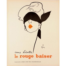 "Original Vintage French Advertising Poster ""Rouge Baiser"" by René Gruau"