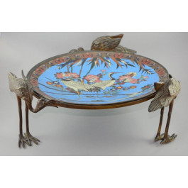 19th century French Centerpiece |Made of Bronze and French Cloisonné with Sceneray of Cranes and Trees