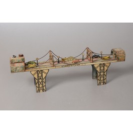 """Original Vintage """"Busy Bridge"""" Tin Mechanical Toy 6 Cars by Louis Mark & Co. 1930's"""