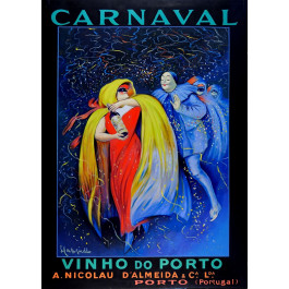 """Original Oil on Canvas Painting """"Carnaval"""" After Cappiello by Ferjo"""