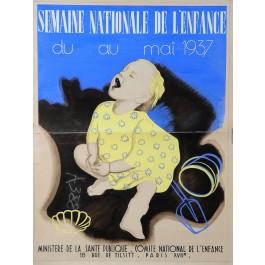 "Orginal Vintage French Children Poster ""Semaine Nationale de l'Enfance"""