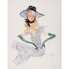 "Original Lithograph  ""Quand on Parle d'Amour"" Domergue 1948"