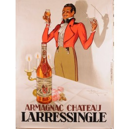 Original Vintage Poster for Armagnac Chateau Larressingle by Henry Le Monnier
