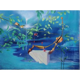 """Original Chinese Contemporary Art Acrylic on Canvas """"Drink For Two"""" Hey Feng 2005"""