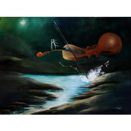 "Original Chinese Contemporary Art Acrylic on Canvas ""Midnight Serenade"" Hey Feng 2005"