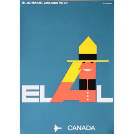Original Vintage Poster Dan Reisinger El Al Airline Canada Israel Travel