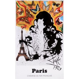 "Original Vintage Poster On Paper Chemins de fer Français ""Paris"" by Salvador Dali 1969"