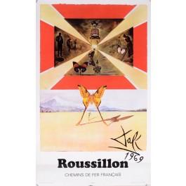 """Original Vintage Poster On Paper Chemins de fer Français """"Roussillon"""" by Salvador Dali 1969"""