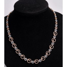 Gold and Diamond Necklace set with 600 Small Diamonds Aprox.3 Carat.