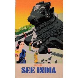 """Original Vintage French Poster  for """"See India"""" Travel"""