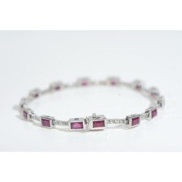 18  Karat White Gold Bracelet with 65 Diamonds Over 1 Carat and 13 Fine Rubies Over 4 Carat.