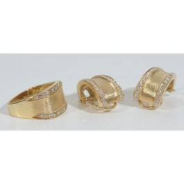 Set of 18 karat  Ring and Earrings Set With 86 Diamonds 1-2 Pt Each