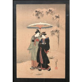 Japanese Original Colored Tempera on Paper Of Two Geisha Under A Parasol