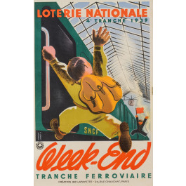 """Original French Vintage Poster """"Loterie Nationale""""  -  WEEK-END by Derouet Lesacq 1939"""