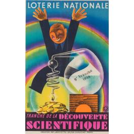 """Original French Vintage Poster """"Loterie Nationale""""  -  SCIENTIFIQUE by Derouet Lesacq 1939"""