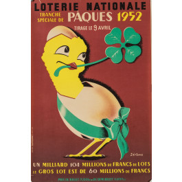 "Original French Vintage Poster ""Loterie Nationale""  -  PAQUES  by Jerome"