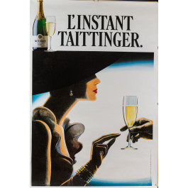 Original Vintage French Poster for L'Instant Taittinger (Champagne Ad)