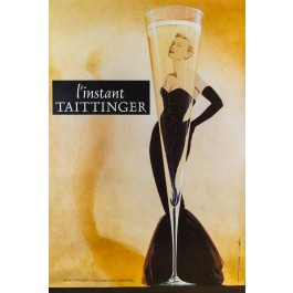 Original Vintage French Poster for L'Instant Taittinger (Grace Kelly (Champagne Ad)