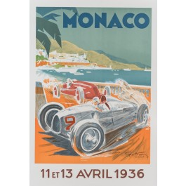 Original LITHOGRAPH Of The Monaco Car Race 1936 Poster