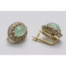 18K Gold Earrings Oval Semi Precioius Stone & 28 Diamonds 6 Points Each Total Over 1.5 Carat