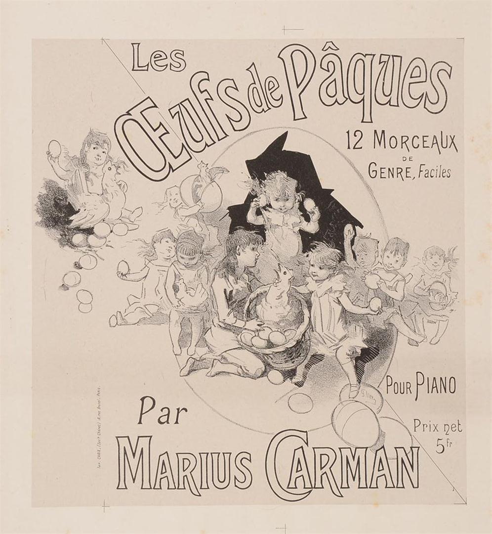 "Original 1890's Poster ""Oeufs De Paques"" Easter Eggs by Marius Carman"