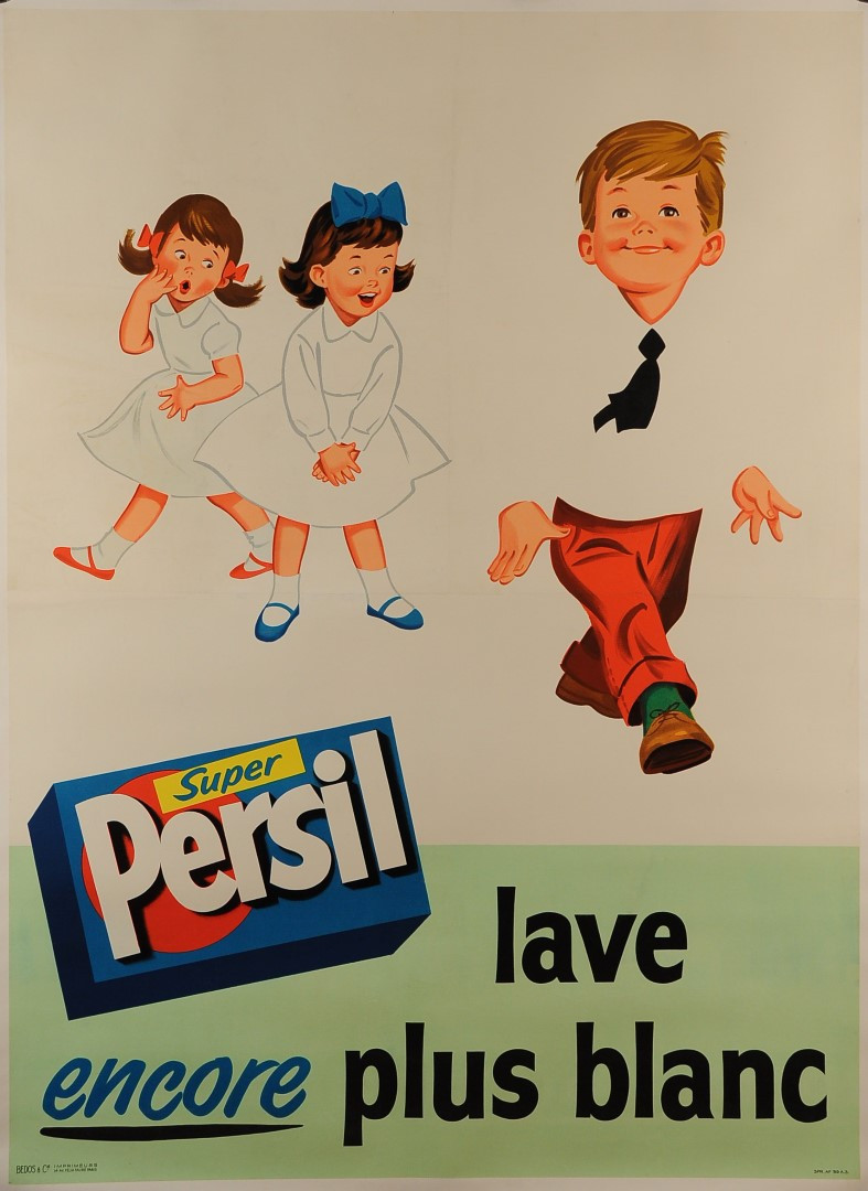 "Original Vintage Children Laundry Soap Advertising Poster for ""Persil"""