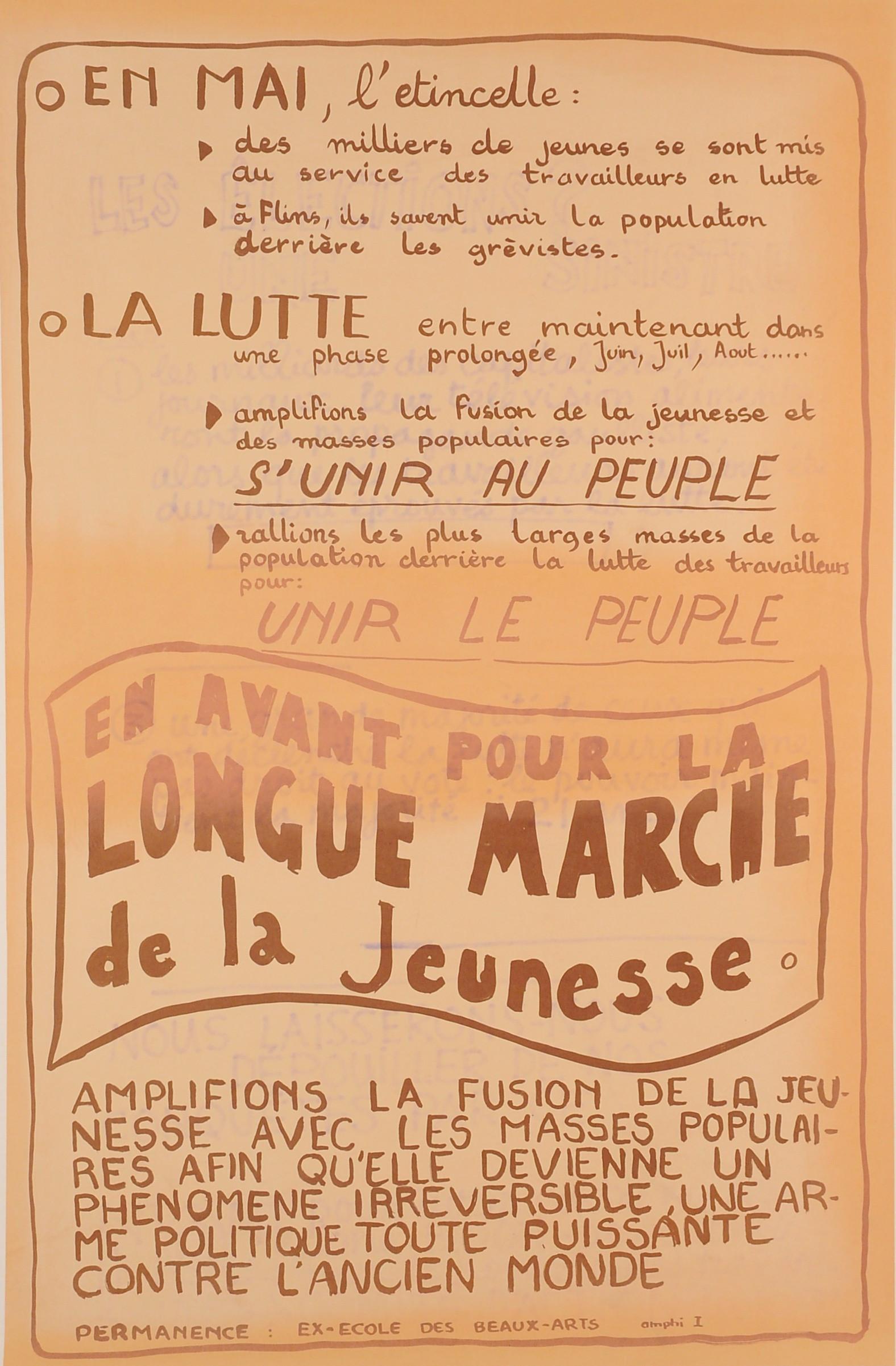 "Original Vintage French 1968 Propaganda Poster ""Longue Marche"""