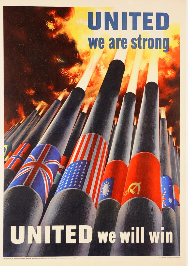 "Original Vintage American Prpoganda Poster ""United We Will Win"" WWII 1943"